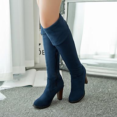 Femme gt;50 8 cm Hiver 04311695 Chaussures Bottier slouch Cuissarde Bleu Noir Automne bottes Talon Similicuir r8rwzT