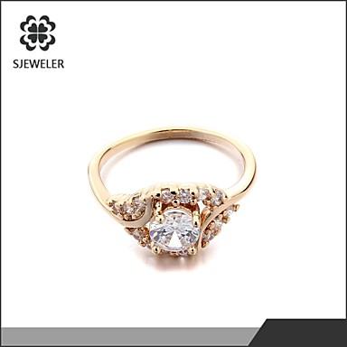 Εντυπωσιακά Δαχτυλίδια Μοντέρνα Ζιρκονίτης Cubic Zirconia Επιμεταλλωμένο με Πλατίνα 18K χρυσό Προσομειωμένο διαμάντι Κοσμήματα ΓιαΓάμου