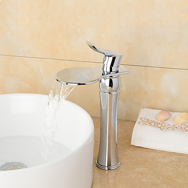 High Quality Chrome Finish Large Wide Mouth Waterfall Bathroom Sink Faucet Tall