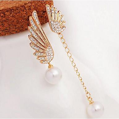 Damen Perle Quaste / Nicht übereinstimmend / Lang Tropfen-Ohrringe - Perle, Künstliche Perle, Strass Engelsflügel Elegant Gold Für Party / Alltag / Diamantimitate