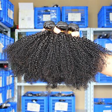 Europeisk hår Kinky Curly Ubehandlet hår Menneskehår Vevet Hårvever med menneskehår / Kinky Krøllet