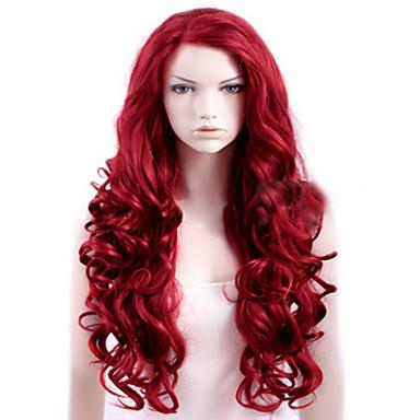 Synthetische Perücken Damen Locken Rot Seitenteil Synthetische Haare Hohe Qualität Rot Perücke Lang Kappenlos Rot
