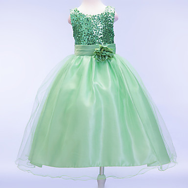Χαμηλού Κόστους Φορέματα για κορίτσια-Παιδιά Κοριτσίστικα Φιόγκος Επίσημο ρούχο Ζακάρ Αμάνικο Βαμβάκι Πολυεστέρας Φόρεμα Πράσινο