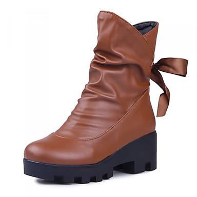 Γυναικεία παπούτσια - Μπότες - Φόρεμα - Χοντρό Τακούνι - Πλατφόρμες / Μποτίνι / Στρογγυλή Μύτη / Μοντέρνες Μπότες - Δερματίνη -Μαύρο /