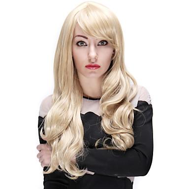 Women Synthetic Wig Wavy Platinum Blonde Costume Wig