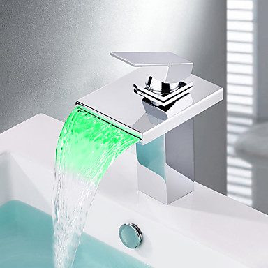 Moderne Centersat Foss LED Keramisk Ventil Et Hull Enkelt Håndtak Et Hull Krom, Baderom Sink Tappekran