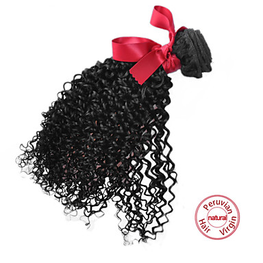 EVET Curly Virgin Hair Bundles Peruvian Human Hair Extension Kinky Curly Hair Weaves Natural Color 1pc 100g/pc