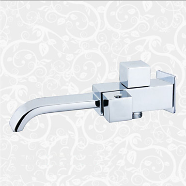 Contemporary Wall Mounted Waterfall Ceramic Valve Single Handle One Hole Chrome, Bathroom Sink Faucet