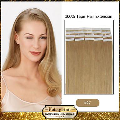 Ilości 30-50g / paczka 16-24inch indyjski włosy nr 27 taśma w ludzkich włosów rozszerzeniach 004