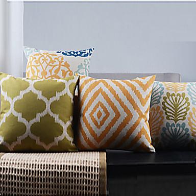 4 stk klassisk geometrisk land kvadratisk bomuld / linned pudebetræk med lynlås
