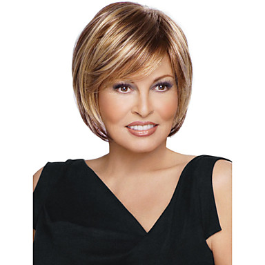 Synthetic Wig Straight Bob Haircut / With Bangs Synthetic Hair Highlighted / Balayage Hair / Side Part Brown Wig Women's Short Capless