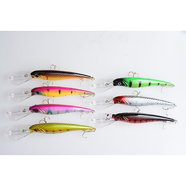 7 Stück kleiner Fisch Kurbel Angelköder Kurbel kleiner Fisch Fester Kunststoff Seefischerei Fischen im Süßwasser Spinnfischen