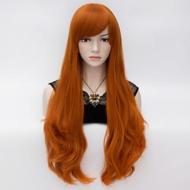 κομψό μακριά κυματιστά μαλλιά cosplay περούκα θερμότητα αντισταθεί συνθετικό κόμμα πορτοκαλί μαλλιά