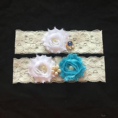 Dentelle Jarretière de mariage - Strass Imitation Perle Fleur