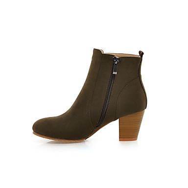 Γυναικείο Παπούτσια Φο Σουέτ Χειμώνας Χαμηλό Τακούνι Μποτίνια Με Κουμπί Για Causal Φόρεμα Πάρτι & Βραδινή Έξοδος Μαύρο Μπεζ Πράσινο