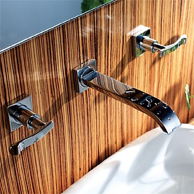 Современный Разбросанная Широко распространенный Керамический клапан Три ручки Три отверстия Хром, Ванная раковина кран
