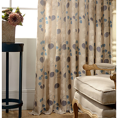 Rod Pocket Grommet Top Tab Top Double Pleat Pencil Pleat One Panel Curtain Country Modern Neoclassical European Designer , Print &