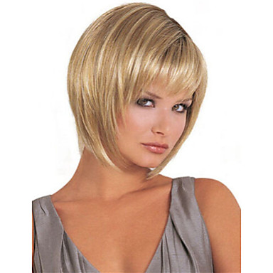 Synthetic Wig Straight Bob Haircut / With Bangs Synthetic Hair Wig Women's Short / Long Natural Wigs Capless