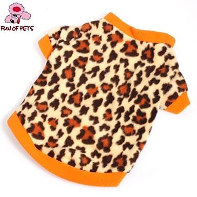 Katze Hund T-shirt Pullover Hundekleidung Leopard Braun Polar-Fleece Kostüm Für Haustiere Herrn Damen Modisch