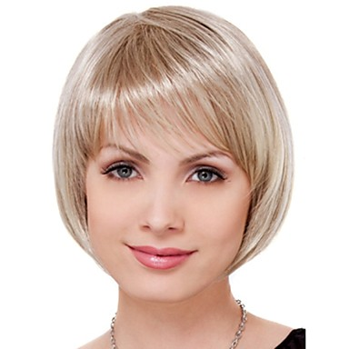 Women's Synthetic Wig Short Straight Blonde Bob Haircut Natural Wigs Costume Wig