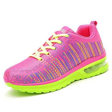 Damer Sko Tyl Efterår Komfort Sneakers Fitness og cross-træning Flad hæl Lynlås Til Atletisk Sort Blå Lys pink