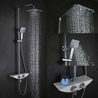 High Quality Fashion Wall-Mounted Brass Chrome 38 ℃ Smart Thermostatic Shower Faucets Set -