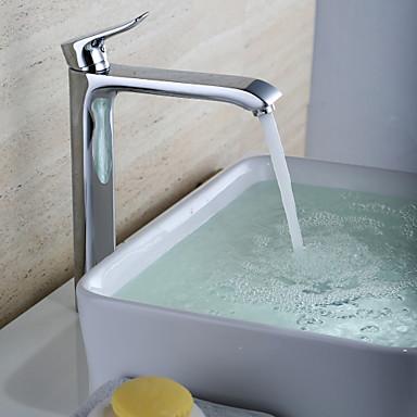 Çağdaş Tek Gövdeli Seramik Vana Tek Delik Tek Kolu Bir Delik Krom , Banyo Lavabo Bataryası