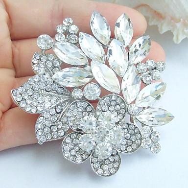 γάμος 2,36 ιντσών ασήμι-Ήχος σαφές rhinestone crystal νυφικό λουλούδι κρεμαστό κόσμημα καρφίτσα