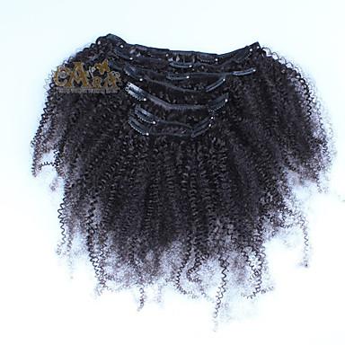 Adattabile Con Clip Estensioni Dei Capelli Umani Riccio Afro Kinky Curly Cappelli Veri Peruviano Nero #04175885