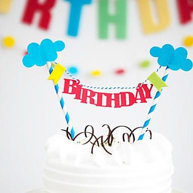 Happy Birthday Cake Bunting Banner Kit DIY Topper Decoration