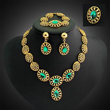 קריסטל פרנזים סט תכשיטים - זירקוניה מעוקבת הצהרה, מסיבה, שרשרת\חוליות לִכלוֹל ירוק / כחול עבור / עגילים / שרשראות