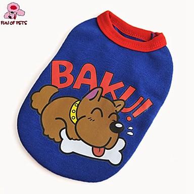 Köpek Tişört Köpek Giyimi Sevimli Günlük/Sade Karton Kırmzı Mavi Kostüm Evcil hayvanlar için