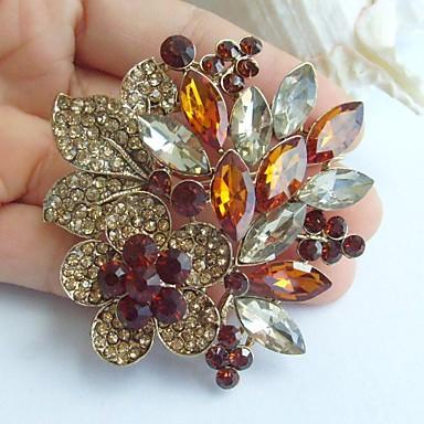 2.36 ιντσών διακοσμήσεις χρυσό-Ήχος τοπάζι rhinestone κρύσταλλο λουλούδι κρεμαστό κόσμημα καρφίτσα τέχνης