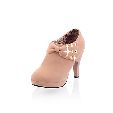 Damen Schuhe Kunstleder Winter Frühling Komfort Neuheit Stiefeletten High Heels Stöckelabsatz Runde Zehe Booties / Stiefeletten Schleife