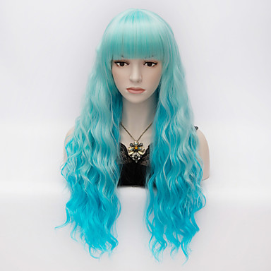 Synthetic Wig Kinky Curly With Bangs Synthetic Hair Blue Wig Women's Very Long