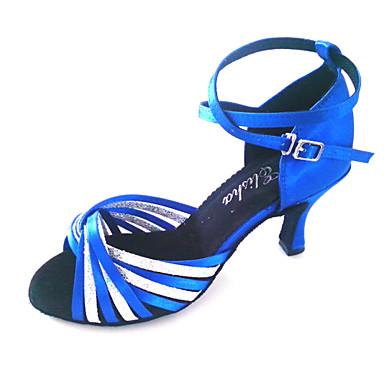 Damen Schuhe für den lateinamerikanischen Tanz / Ballsaal Glitzer / Satin Absätze Maßgefertigter Absatz Maßfertigung Tanzschuhe Blau