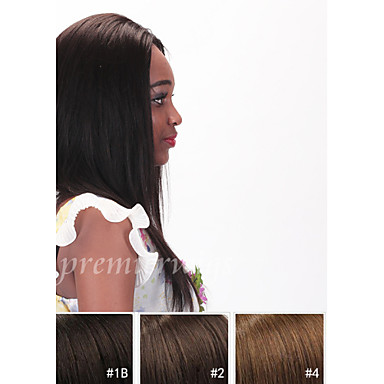 Ekte hår Blonde Forside Parykk Rett 130% tetthet 100 % håndknyttet Afroamerikansk parykk Naturlig hårlinje Kort Medium Lang Dame