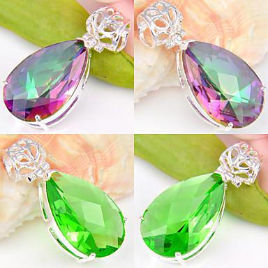Kadın's Kristal / Gümüş Kaplama Kolye Uçları - Kırmzı / Yeşil Geometric Shape Kolye Uyumluluk Düğün / Parti / Günlük