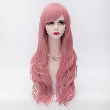 Peruki syntetyczne Kędzierzawy Fryzura cieniowana Z grzywką Gęstość Bez czepka Damskie Różowy Karnawałowa Wig Halloween Wig Bardzo długo