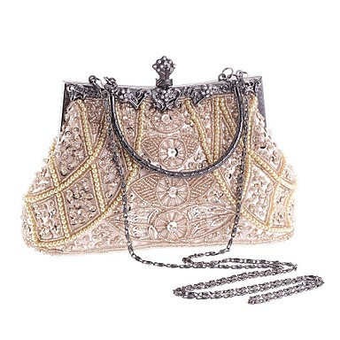 cheap Clutches & Evening Bags-Women's Imitation Pearl / Crystal / Rhinestone Evening Bag Rhinestone Crystal Evening Bags Polyester Geometric Champagne / Black / Gold