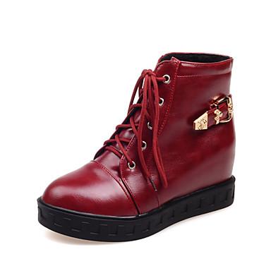 Bootie / Kerek orrú - Talp - Női cipő - Csizmák - Ruha - Bőrutánzat - Fekete / Fehér / Vörös