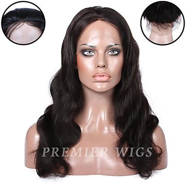 Ekte hår Helblonde / Blonde Forside Parykk Bølget 130% / 150% tetthet Naturlig hårlinje / Afroamerikansk parykk / 100 % håndknyttet Kort / Medium / Lang Dame Blondeparykker med menneskehår