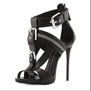 Women's Shoes Leatherette Spring Summer Comfort Sandals Stiletto Heel for Office & Career Dress Party & Evening White Black