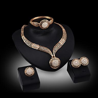 Sievä Juhla Rannerengas Cubic Zirkonia Gold Plated Metalliseos Circle Shape Geometric Shape Rannerengas Kaulanauha Korvakorut Sormus
