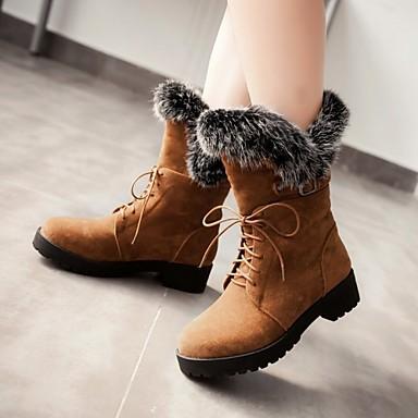 Γυναικείο Παπούτσια Φλις Γούνα Άνοιξη Φθινόπωρο Χειμώνας Κοντόχοντρο Τακούνι Μπότες στη Μέση της Γάμπας Αγκράφα Κορδόνια Για Causal Φόρεμα