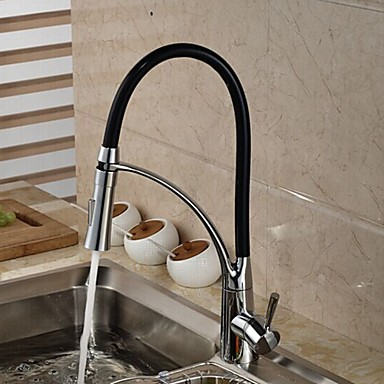 Contemporary Pull-out/Pull-down Deck Mounted Ceramic Valve One Hole Single Handle One Hole Chrome , Kitchen faucet