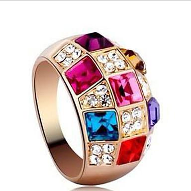 Anéis Meio Dedo Cristal Zircônia Cubica Strass Liga Moda Clássico Jóias de Luxo Arco-Íris Jóias Festa 1 Conjunto