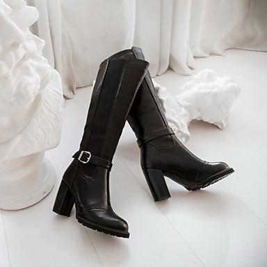 Boucle Fermeture Chaussures Mi Automne Habillé Bottier Similicuir Combinaison Talon Décontracté Femme mollet Bottes 04296613 Bottes Hiver Pour vPwxq