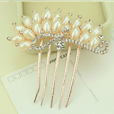 Sør-Korea høyverdig ornamenter i kammer hårspenne diamant perle vri påfuglen viser sin hale