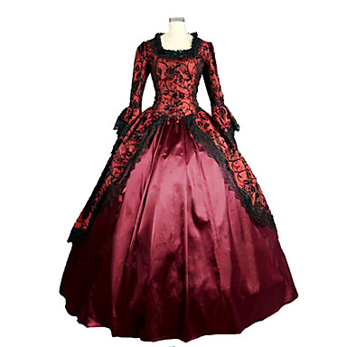 고딕 로리타 Steampunk® 빅토리안 레이스 공단 여성용 드레스 코스프레 긴 소매 긴 길이